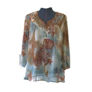 Chicos womens silk blouse sheer embellished draped